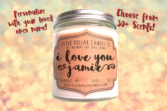 Personalized Valentines Day Candle